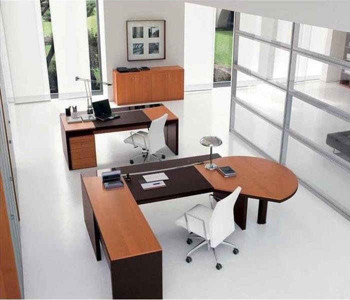 An office setting with desks